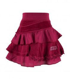 Velour trimmed skirt cranberry win1