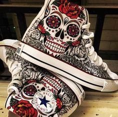 allstar, colorful, converse, mexican, print, shoes, skull