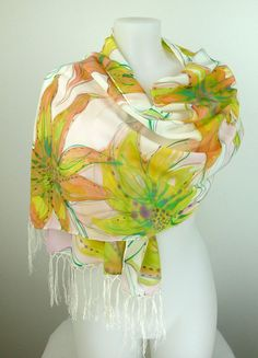 Hand painted silk scarf Dancing Flowers/with by HeronDesignStudio