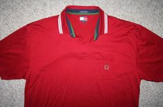 Tommy Hilfiger pocket polo shirt extra large SS red cotton solid XL Mens Choice #TommyHilfiger #PoloRugby
