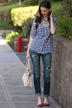 Casual gingham - ripped jeans and red flats plus anthropologie statement necklace.