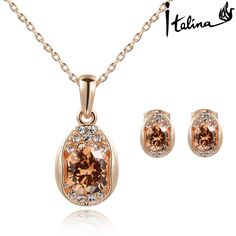 Real Italina Rigant Real Austrian Crystals   Jewelry sets for women  Anti Allergies New Sale Hotb#RG015S