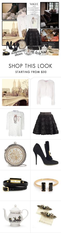"""""""Floral Skirt & Statement Shoes"""" by johannamaria37 ❤ liked on Polyvore featuring WALL, Giamba, Dolce&Gabbana, Alexander McQueen, Balmain, McQ by Alexander McQueen, Mrs Moore, Pieces, Cameo and floral"""