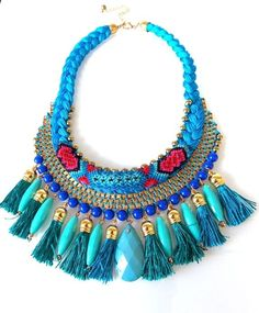 Turquoise and Teal Tassel Boho Aztec Statement Necklace -UK SELLER