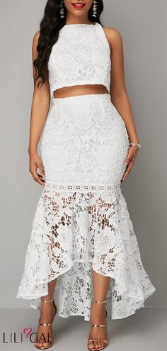 798f95af67d White Sleeveless Lace Crop Top and Mermaid Skirt  liligal  dresses   womenswear  womensfashion