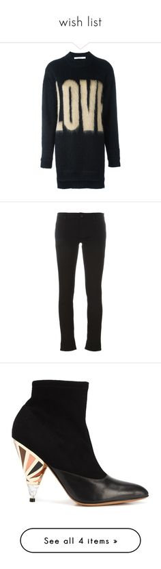 """wish list"" by jofrebcn ❤ liked on Polyvore featuring tops, sweaters, black, print sweater, ribbed top, patterned tops, givenchy top, long jumpers, jeans and patch jeans"