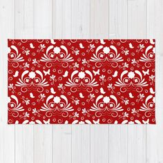 Abstract floral red, white Rug