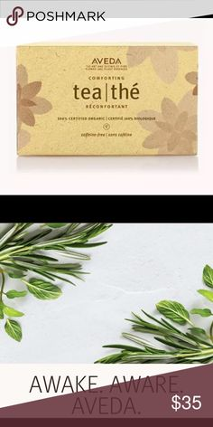 AVEDA Comforting Tea 20 Pack of Tea Bags Sealed Our soothing, certified organic, caffeine-free herbal infusion—with licorice root and peppermint—calms your senses, promoting a sense of well-being. Aveda Other