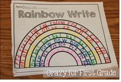 Crazy for First Grade: Word Work Stations. Now this kind of rainbow write I like! First Grade Spelling, First Grade Words, 1st Grade Writing, First Grade Reading, First Grade Classroom, Spelling Words, Second Grade, Spelling Ideas, Spelling Test