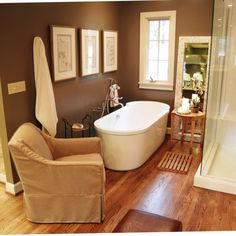 Brown Bathroom Wall Decor Awesome Chocolate Brown Interior Colors and fortable Interior Decorating Ideas Spa Bathroom Design, Bathroom Spa, Bathroom Wall Decor, White Bathroom, Small Bathroom, Bathroom Ideas, Tile Bathrooms, Ikea Bathroom, Bathroom Trends