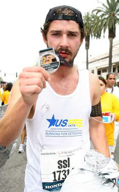 Actor Shia LaBeouf completed the 2010 LA Marathon in 4h 35m 31s.    Photo by Valerie Macon, Getty Images