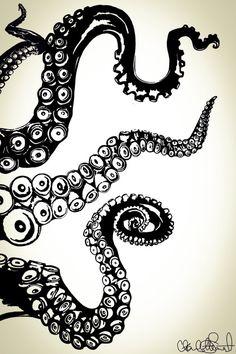 Octopus Kraken Tentacles // Nautical Ocean Wall Art // Home Decor / Beach Decor // Poster Print from Clarafornia Co. Arm Drawing, Octopus Drawing, Octopus Painting, Octopus Wall Art, Fish Art, Tentacle Tattoo, Octopus Design, Sea Life Art, Ink Illustrations