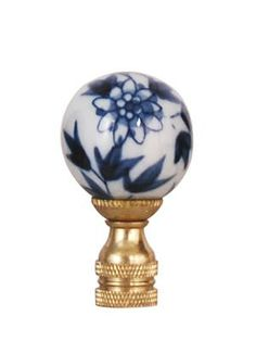Blue & White porcelain lamp finial.