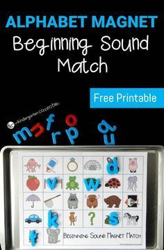 Beginning Sound Kindergarten Activity: Work on letters and sounds with this super fun alphabet magnet beginning sound match! Great for preschool and kindergarten students to pick a letter, say its sound and find the match! Kindergarten Centers, Preschool Letters, Learning Letters, Kindergarten Literacy, Beginning Sounds Kindergarten, Preschool Readiness, Early Literacy, Literacy Centers, Letter Sound Activities