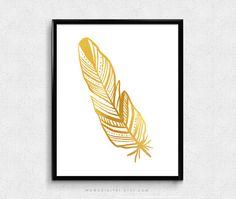 VENTE Tribal plumes d'or Faux clinquant d'or par MomoDigital