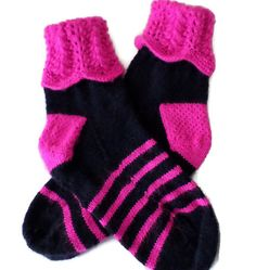 Socks  Hand Knit Women's Bright Pink and Navy by PointedNeedle