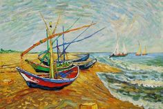 Pescherecci-on-the-beach-at-Saintes-Maries-by-Vincent-Van-Gogh-OSA406