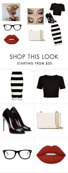 """""""Black and white"""" by jennaylime on Polyvore featuring Milly, Ted Baker, Tory Burch, Muse and Lime Crime"""
