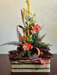 Forest Inspired Flower Arrangement in Handmade Wood Container - ดอกไม้ - Blumen Artificial Floral Arrangements, Modern Flower Arrangements, Fall Arrangements, Artificial Flowers, Succulent Arrangements, Home Flowers, Fall Flowers, Dried Flowers, Fresh Flowers