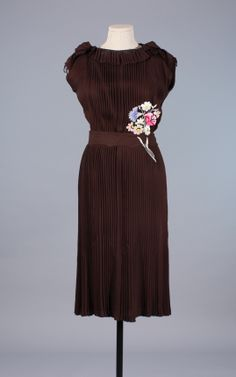 1930s pleated & embroidered day dress