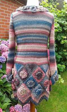 20 Gorgeous Free Crochet Cardigan Patterns for Women: Roses Granny Cardigan Free Crochet Pattern