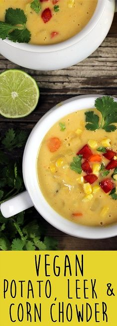 This Creamy Vegan Corn Chowder is hearty, healthy, sweet and satisfying. Perfect for any season.