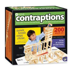 This Keva planks set from Mindware includes everything you need to make ball track contraptions. Includes 200 wooden planks, 2 lightweight balls & an idea book. Shop now! Rube Goldberg Machine, Thing 1, 9 Year Olds, Book Show, Old Boys, Educational Toys, Cool Kids, Kids Fun, 1 Piece