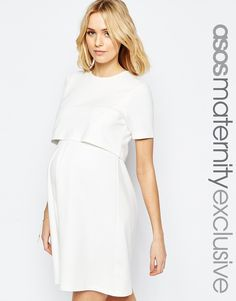 Image 1 of ASOS Maternity NURSING Textured Skater Dress With Double Layer