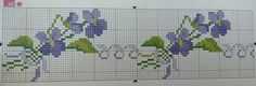 Cenefa flores toallas Cross Stitch Borders, Floral Border, Needlework, Embroidery, Design, Acorn, Counted Cross Stitches, Cross Stitch Flowers, Towels