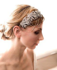 1920s Gatsby Bridal Headband, Flapper Bridal Headband, Rhinestone Headband, Flapper Headband, Bridal Headband, Vintage - Amelie