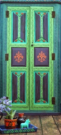 Bohemian door, stencilling and chalk paint
