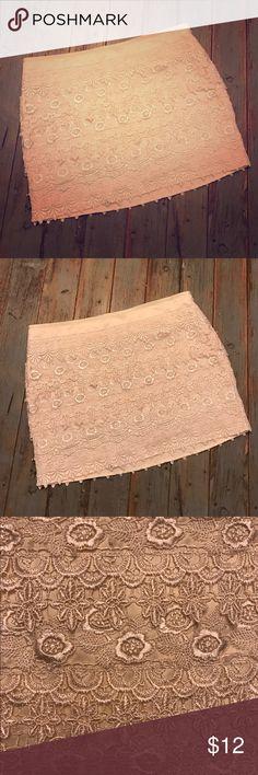 Ivory Lace Mini Skirt Like New Cute and Sassy Ivory Lace Mini Skirt. Worn once! Side zipper with hook and eye closure. Sans Souci Skirts Mini