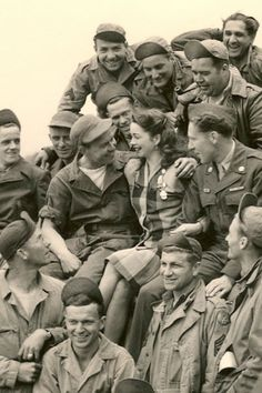 World War II Pin-up girl Margie Stewart visiting troops in Reims, France in June 1945 by christa