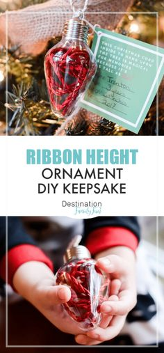 Personalized Ornaments for Kids to Make - DIY Ribbon Height Ornament Personalized Ornaments for Kids to make are the best homemade Christmas ideas. A new take on the ribbon height ornament and the perfect keepsake. Homemade Christmas, Christmas Diy, Christmas Island, Christmas Cactus, White Christmas, Christmas Vacation, Diy Christmas Keepsakes, Baby Christmas Ornaments, Hallmark Ornaments