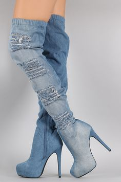 Distressed Denim Almond Toe Over-The-Knee Boots