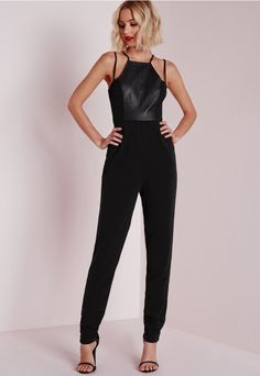 981d691a47 Croc Faux Leather Panel Jumpsuit Black - Jumpsuits - Missguided Lace Up  Heels