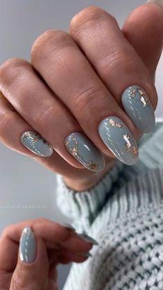 Gray Nails, Neutral Nails, Blue Nails Art, Blue Gold Nails, Chic Nails, Stylish Nails, Elegant Nails, Sophisticated Nails, Chic Nail Art