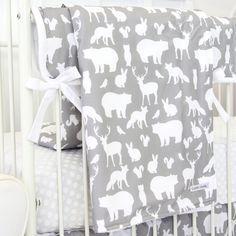Blanket - Woodland Animals in Gray & White