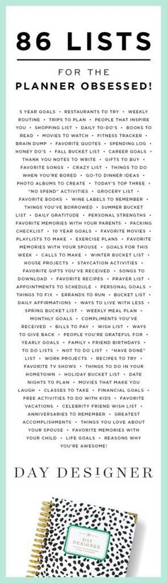 I love lists almost as much as I love planners. I'm definitely planner obsessed. These ideas would work great in a bullet journal. Passion Planner, Life Planner, Happy Planner, Planner Ideas, Vacation Planner, Binder Planner, Planner Journal, Project Planner, Organized Planner