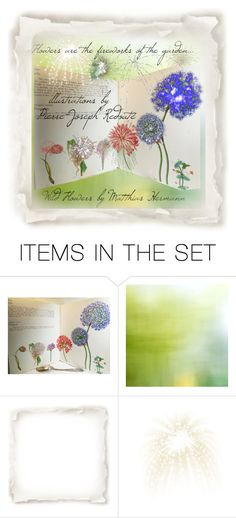 """""""Flowers are the Fireworks of the Garden"""" by cravecute ❤ liked on Polyvore featuring art, vintage, illustrations, book, fireworks and botanical"""