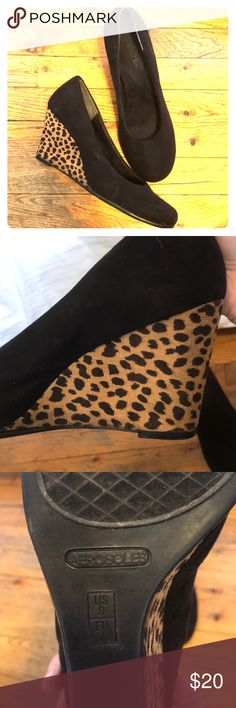 Black And Leopard Suede Wedges Really wish my feet didn't grow or else I wouldn't be selling these. Loved (used) suede black and leopard wedges.  Heels are in good condition.  Suede in good condition, no nicks or scratches. Size: 9 AEROSOLES Shoes Wedges
