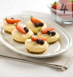 Easy Recipes, Little Lemon Cheesecakes, 4 Ingredients, Kim McCosker Lemon Cheesecake Recipes, Cheesecake Desserts, Mini Desserts, Dessert Recipes, Indian Desserts, Lemon Desserts, Lemon Recipes, Sweet Desserts, Drink Recipes