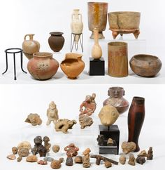 Lot 193: Central and South American Pottery Assortment; Including mask ornaments, figural pipes, a signed Ernesto Duran Chili marked vase, bowls, jars and display mounts