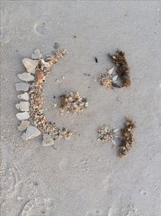 smiley face in sand.