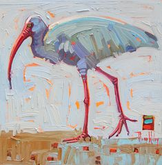 Ibis, by Rene Wiley by René Wiley Gallery Oil ~ 12 x 12 Colorful Animal Paintings, Paintings I Love, Original Paintings, Bird Painting Acrylic, Acrylic Painting Inspiration, Gouache, Cubist Art, Bird Artwork, Tropical Art