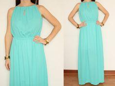 Aqua blue dress Maxi Dress Summer Chiffon dress by KSclothing, $34.00