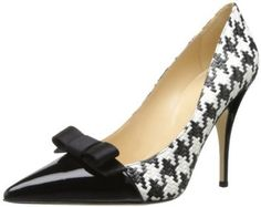 kate spade new york Women's Lilia Dress Pump,Black/White/Houndstooth Raffia/Black M US Fab Shoes, Dream Shoes, Cute Shoes, Me Too Shoes, Shoes Heels, Pumps, High Heels, Chic Chic, Mode Style