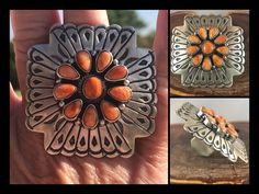 NAVAJO~SS~STAMPED ~LARGE ~ORANGE SPINY ~CROSS ~ RING~ BY MARCELLA JAMES    eBay