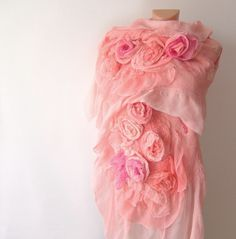 Nuno felted scarf ruffle - coral Rose flower Apricot Pink. All those loose cabbage roses--very French.