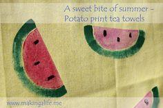 Tutorial on potato printing. Great DIY teacher's gift. www.makingalife.me